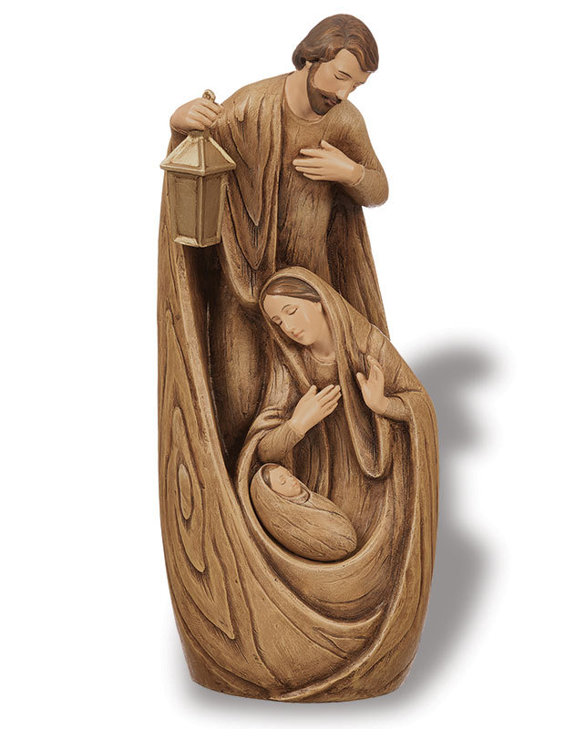 Carved-Style Holy Family Figurine