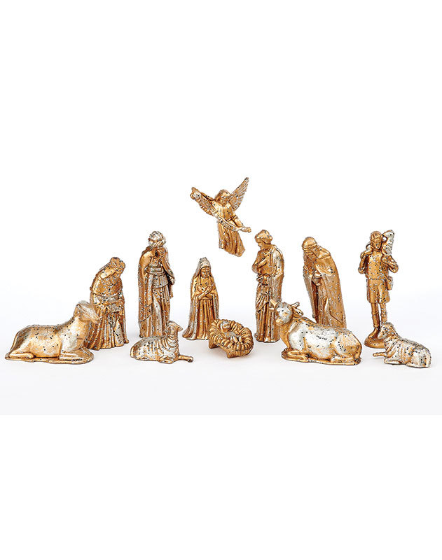 Childrens Nativity Set, Gold Finish