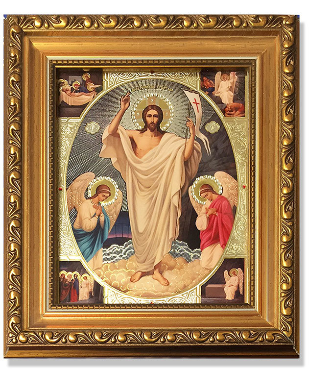 Christ Resurrected Gold-Framed Icon with Crystals