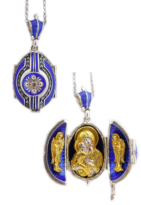 Cobalt Blue Virgin Mary Locket