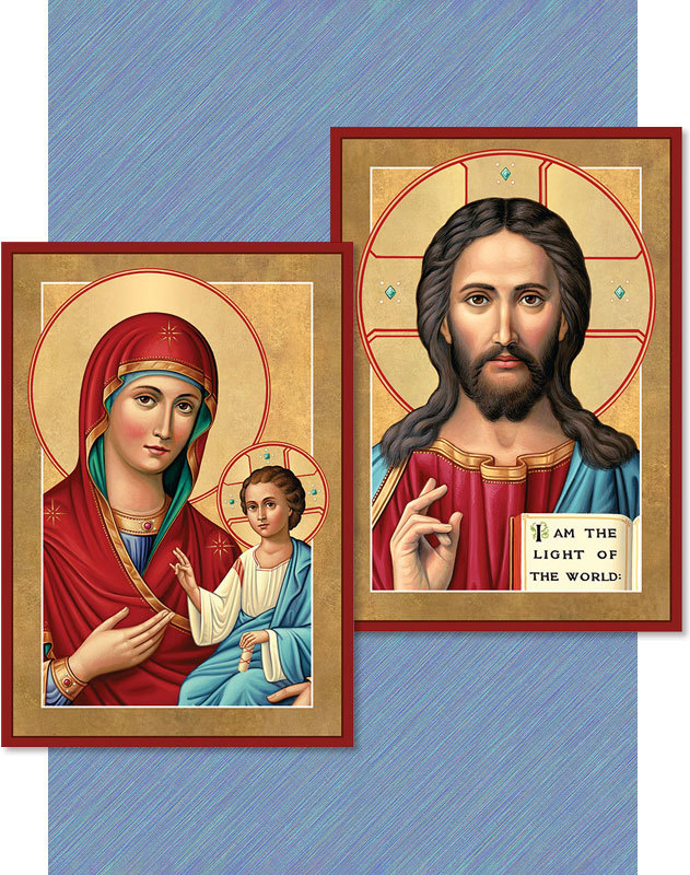 Discounted icon pair -- Christ the Light of the World and Our Lady of Light