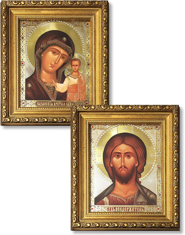 Discounted Pair of Christ and Virgin of Kazan Gold-Framed Icons with Crystals