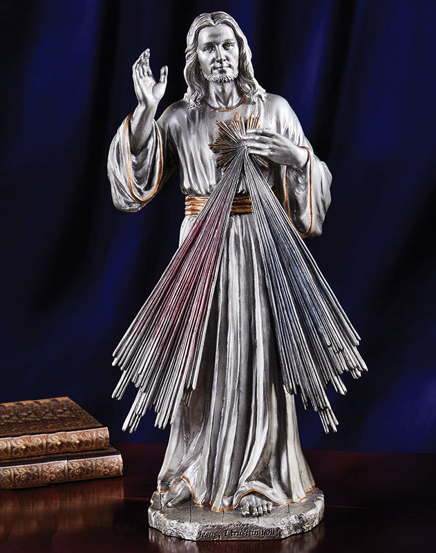 Divine Mercy Pewter Style Figurine