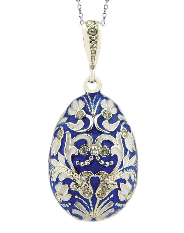 Faberge Style Blue Egg Pendant