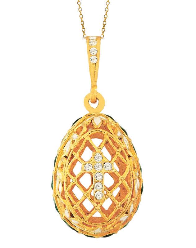 Gold Filigree Egg Pendant