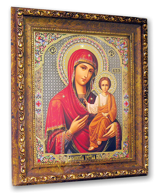 Gold-Framed Jeweled Icon of the Virgin Mary