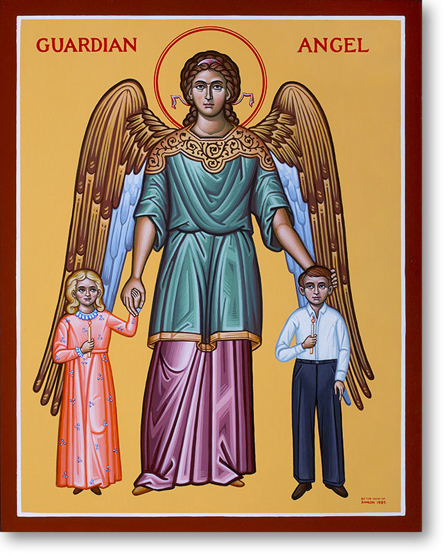 "Guardian Angel & Children Original Icon 14"" tall"