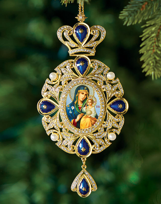 Blue Madonna Heirloom Icon Ornament