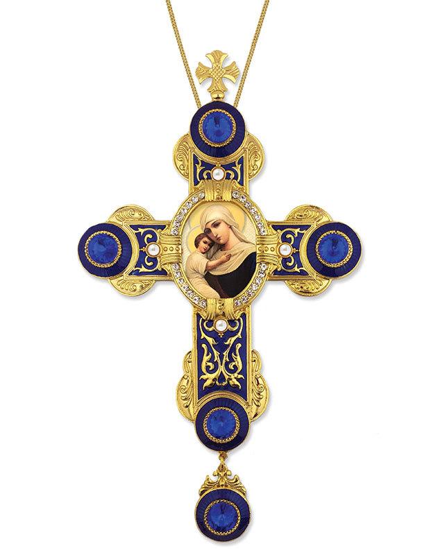 Jeweled Wall Cross - Madonna & Child