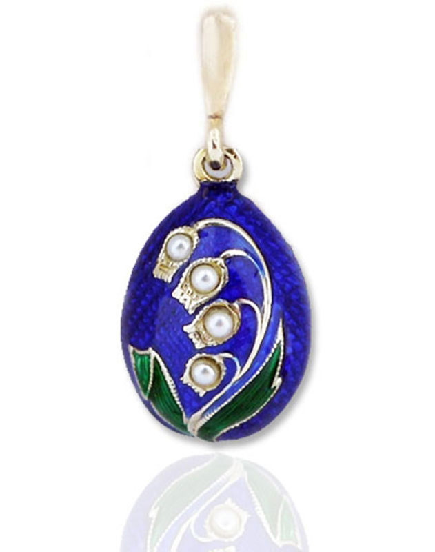 Lilies of the Valley Enameled Egg Pendant
