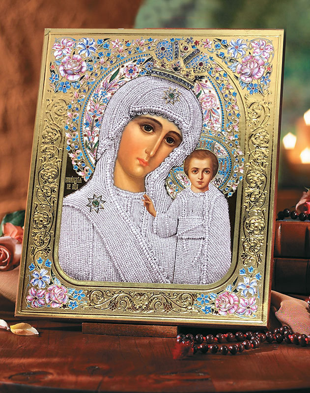 Madonna of the Roses Embossed Icon