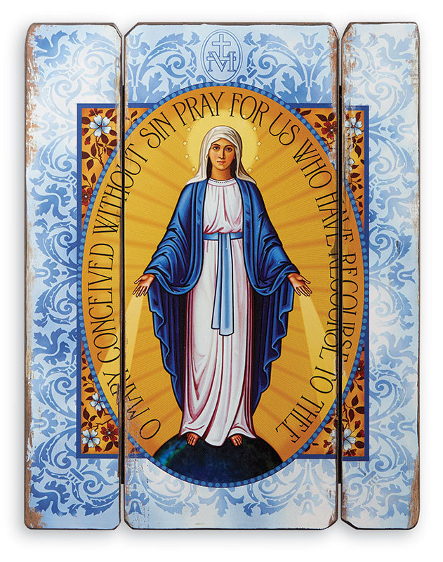 Miraculous Medal Rustic Plaque