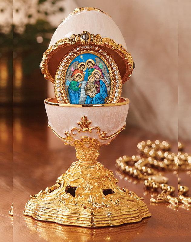 Nativity Icon Faberge-Style Enamelled Egg
