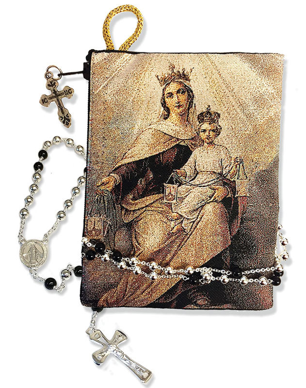 Our Lady of Mt Carmel rosary pouch
