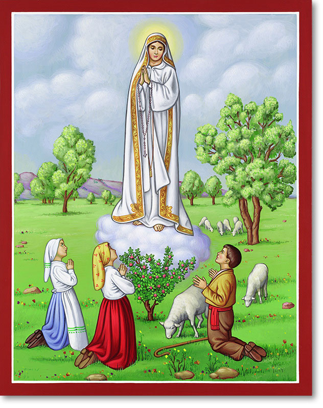 "Our Lady of Fatima Original Icon 20"" tall"