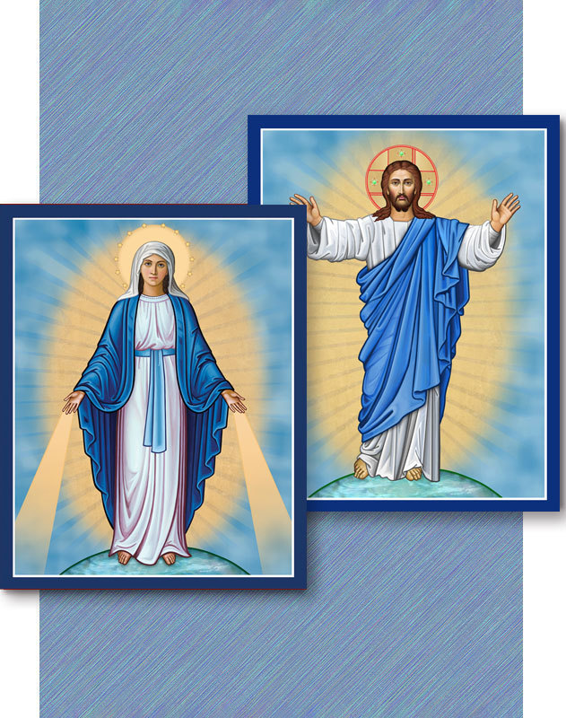 Discounted Icon Pair - Christ the Light and Our Lady of Grace