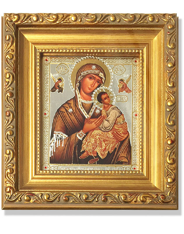 Our Lady of Perpetual Help Gold-Framed Icon with Crystals