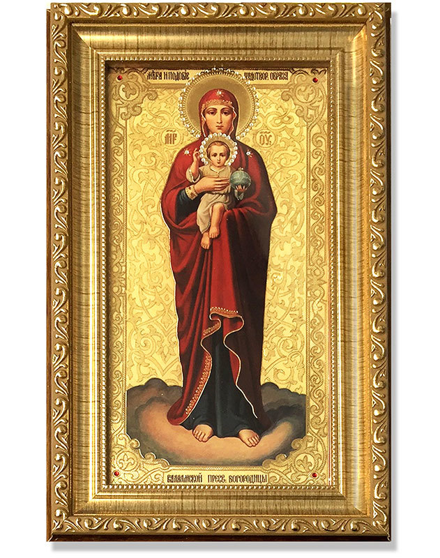 Our Lady of Valaam Gold-Framed Icon with Crystals