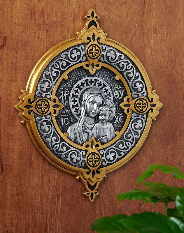 Byzantine Madonna and Child Wall Medallion