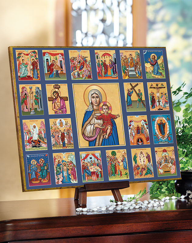 Queen of the Rosary with Mysteries