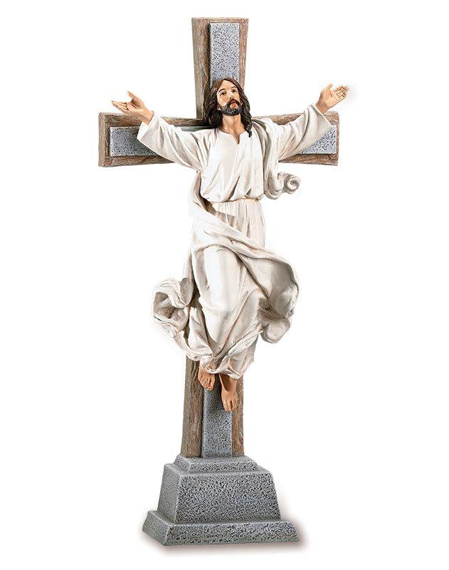 Risen Christ Cross Figurine