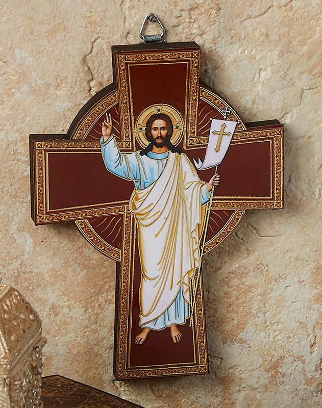 Risen Christ Golden Line Wall Cross