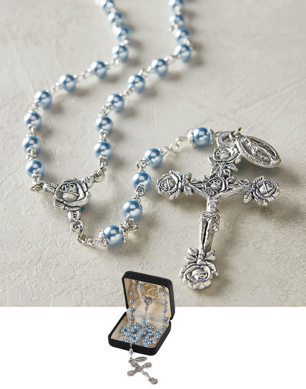 Rose Pearl Rosary - Blue