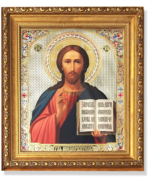 Russian Christ Pantocrator gold-framed icon with crystals