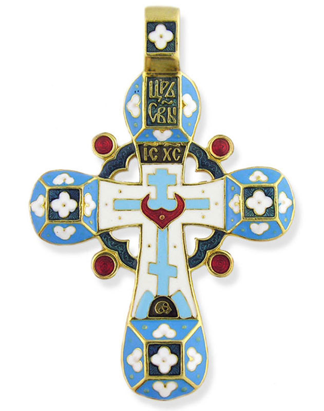 NEW Russian Enameled Flower Cross