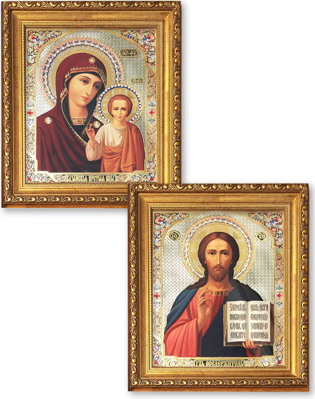 Discounted Pair of Christ Pantocrator and Virgin Mary icons