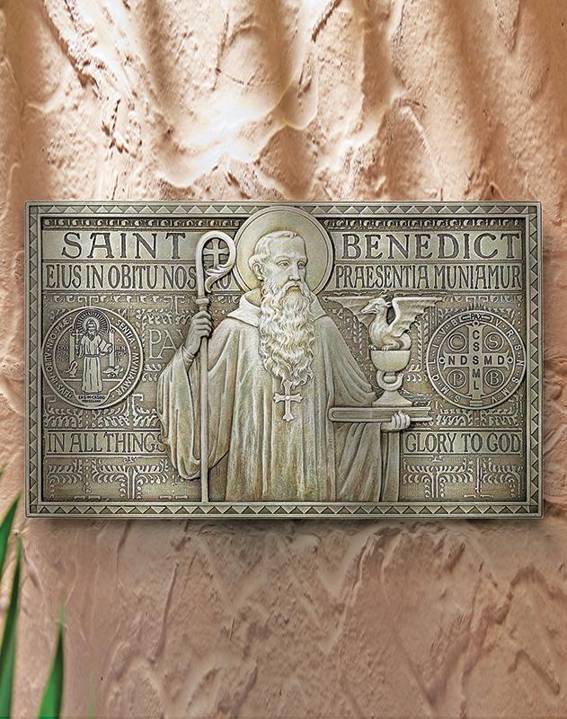 Saint Benedict plaque - wide