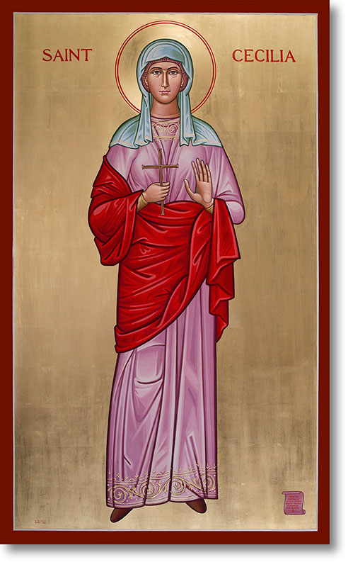 "Saint Cecilia original icon 48"" tall"