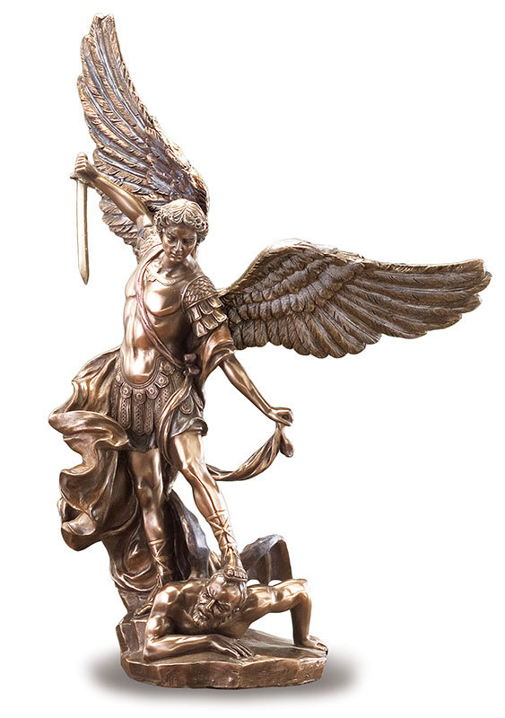 "Saint Michael Figurine 14"" bronzed"