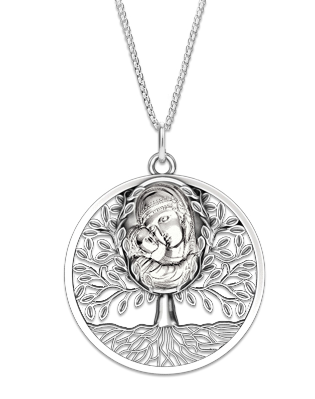 Silver Tree of Life Madonna Pendant