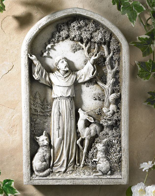 St Francis Arched Bas Relief