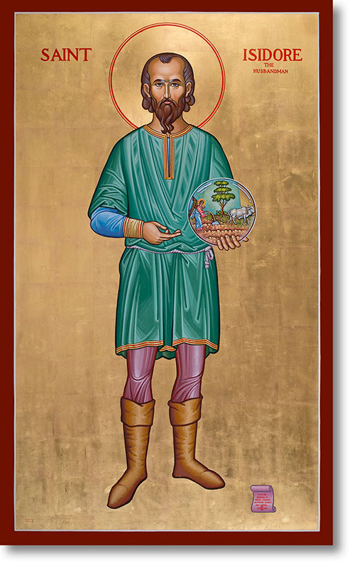 "St. Isidore the Farmer original icon 48"" tall"