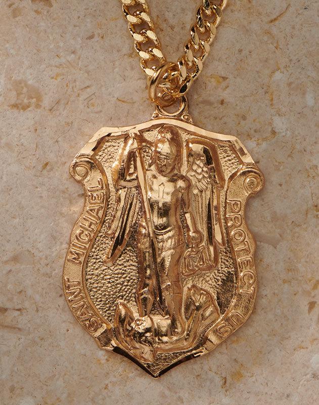 St Michael Badge Pendant - Gold