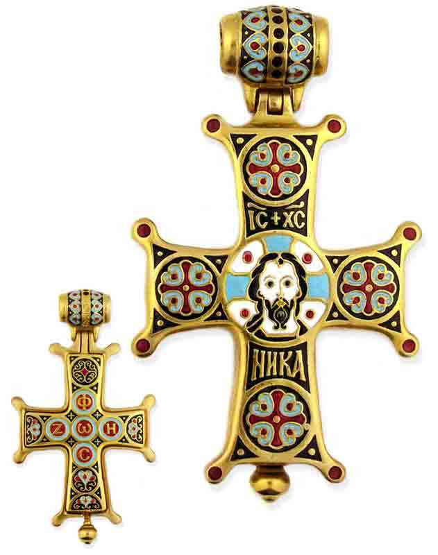NEW Two Sided Enamelled Relic Cross