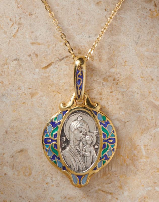Virgin Mary Enameled Pendant