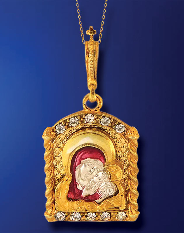 Virgin Mary Enamelled Pendant
