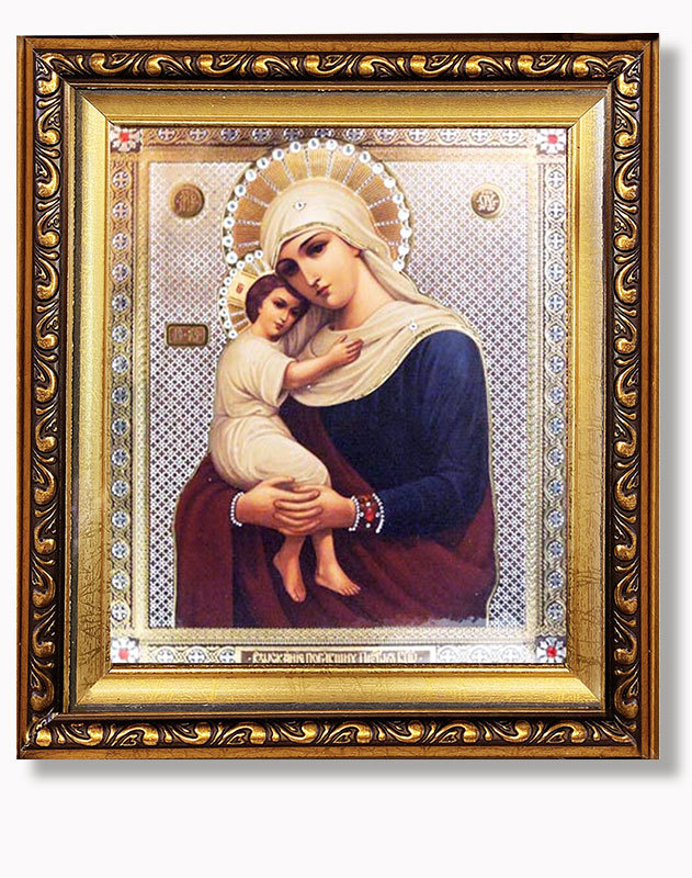 Virgin of Hope Gold Framed Icon with Crystals