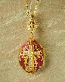 Virgin Mary egg pendant, red