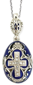 Crystal Cross Faberge Style Egg Pendant