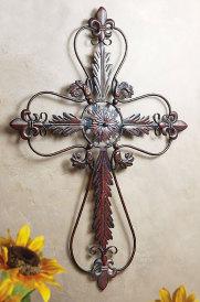 Fleur-de-Lis Metal Wall Cross