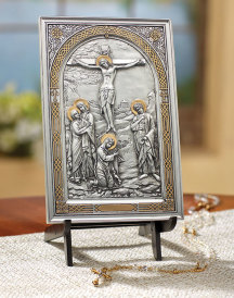 Pewter Style Crucifixion Icon Plaque