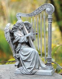 Angel with Harp Outdoor Statue