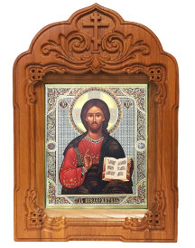 Arched Hand Carved Shrine - Christ