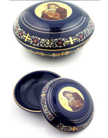 Blue Ceramic Rosary Box