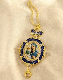 Blue Madonna Jewelled Icon Ornament