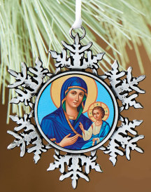 Blue Madonna snowflake ornament